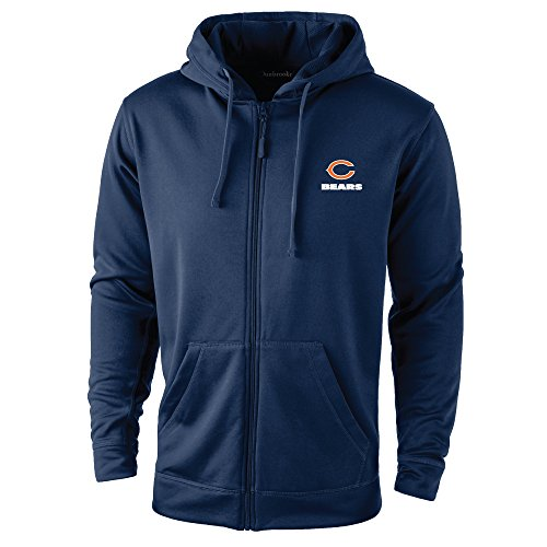 NFL Chicago Bears adult Trophy Polyester Tech Fleece Full Zip Hoodie, X-Large, Navy (Chicago Bears Hoodie compare prices)