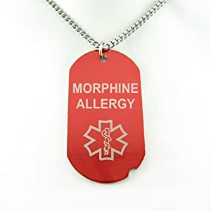 MyIDDr - MORPHINE ALLERGY Red Medical Alert Dog Tag, PRE-ENGRAVED