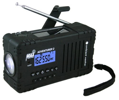 Ambient Weather WR-335 ADVENTURER2 Emergency Solar Hand Crank AM/FM/SW/WB Weather Alert Radio, Flashlight, Siren, Smart Phone Charger