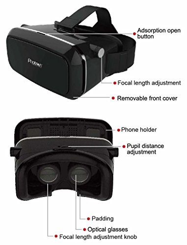 c9f7b5107a40 Photron PHVR50 2nd Generation VR Headset Virtual Reality 3D Box Glasses  Gear comes with 42mm lenses