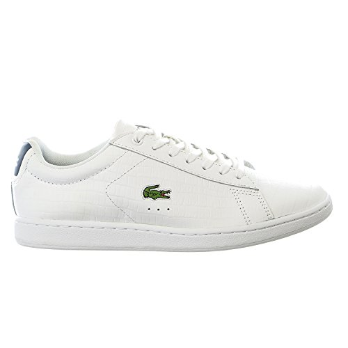 Lacoste Women's Carnaby Evo G316 8 Fashion Sneaker, White/Blue, 8.5 M US