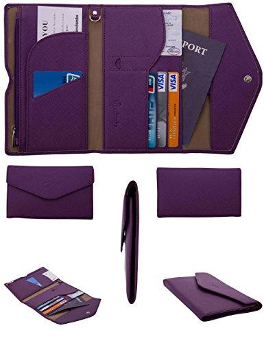Travelambo Rfid Blocking Passport Holder Wallet & Travel Wallet Envelope (purple) (Passport Wallet Ticket compare prices)