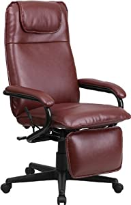 Burgundy Leather Recline Reclining Footrest Executive Highback Office Desk Chairs