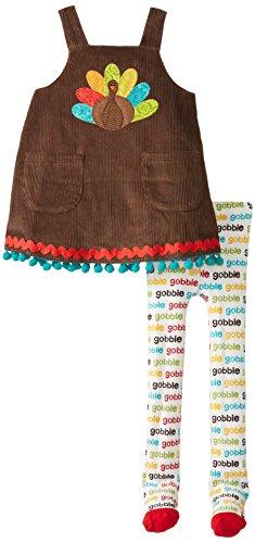 Mud Pie Little Girls' Turkey Jumper And Tights, Brown, 3T front-546910
