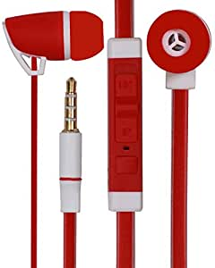 3.5mm Designed In Ear Bud Earphones Headset Handsfree Compatible For Huawei Honor 7i -Red