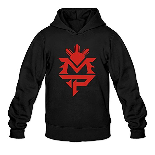 Men's Pacquiao Classic Logo Design Hoodie Black Medium (Floyd Mayweather Boxing Tickets compare prices)