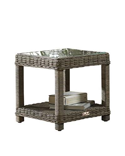Panama Jack Exuma End Table With Glass, Kubu Grey