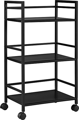 Altra Marshall 3 Shelf Metal Rolling Utility Cart, Black (Small Utility Table compare prices)