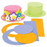 Colored Top Hat Craft Kits for Children to Design Decorate and Wear - Fancy Dress Party Accessory - Creative Set for Kids (Pack of 4)