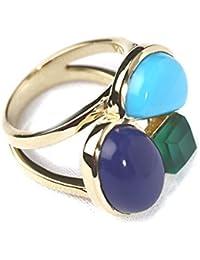 Karma Designs Turquoise,Lapis & Green Onyx Fashion Jewellery Ring For Women