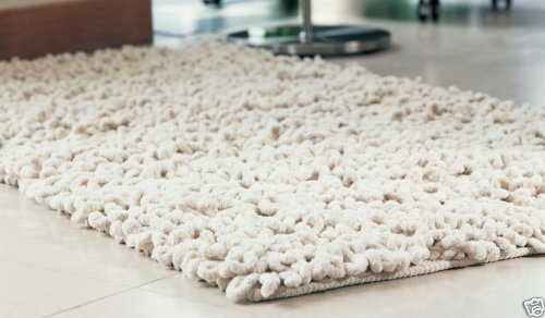 STUNNING CREAM CHENILLE TWIST 100% COTTON RUG 150 X 240