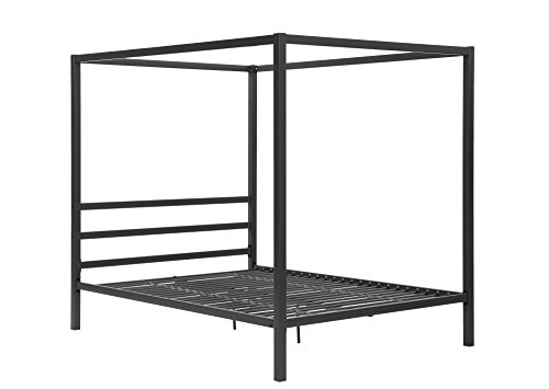 Find Discount DHP Modern Metal Framed Industrial Canopy Bed Frame, Queen, Gray
