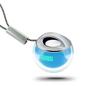 August MS315 - Mini Enceinte Portable - Haut-Parleur Stéréo avec Batterie rechargeable Intégrée - Câble Audio Jack 3,5mm pour Lecteur MP3 / Téléphone / Ordinateur - Bleu