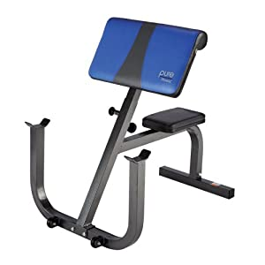 Amazon.com: Pure Fitness Preacher Curl Bench, Blue/Black: Sports