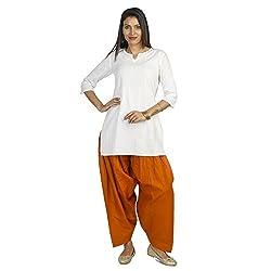 Ethnic Bliss Lifestyles Women Cotton Churidar & Salwar Bottoms (Ethnic Bliss Lifestyles Authentic Orange Patiala Salwar _Orange _Free Size)