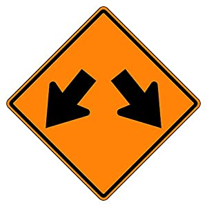MUTCD W12-1 Double-Arrow Orange Sign, 3M Reflective Sheeting, Highest Gauge Aluminum,Laminated, UV Protected, Made in U.S.A