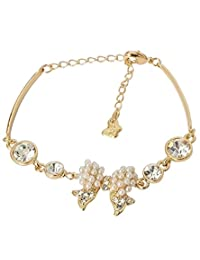 Super Drool Pearl And Crystal Bow Golden Bracelet