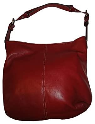 Women's Tignanello Purse Handbag Pebble Leather Bucket Shoulder Bag Glam Red