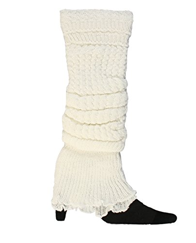 Women's Long Lace Stitched Boot Cover Winter Leg Warmer Boot Socks with Foldover Top (White) (White Boot Tops)