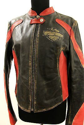 AMAZING Woman,s / Ladies Genuine Leather Harley-Davidson MOTORCYCLE Jacket >>>EUROPEAN / ITALIAN / SIZE-XL (Italian Motorcycle Jackets compare prices)