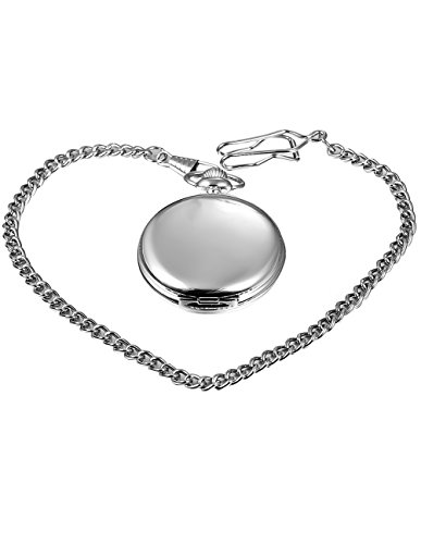 Mudder Classic Smooth Vintage Silver Steel Mens Pocket Watch Xmas Gift 5