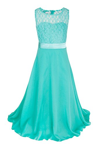 FEESHOW Girls Kids Lace Flower Wedding Pageant Party Chiffon Long Maxi Dress Turquoise 12