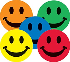 Ace Label 16689C Teacher Assorted Smiley Face School Stickers, 1-Inch, Multicolor, 100 Per Roll