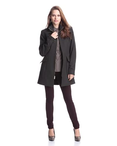 Buffalo David Bitton Women's Zip-Front Fitted Double-Collar Coat  [Kale]