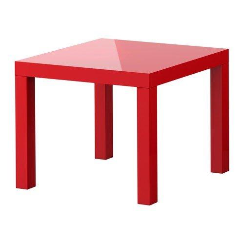 IKEA-Beistelltisch-LACK-Couchtisch-mit-55x55cm-Tisch-in-HOCHGLANZ-ROT