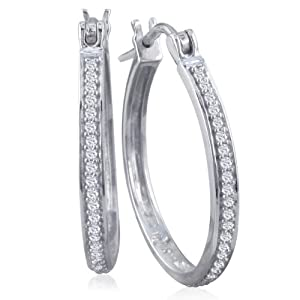 1/4ct Diamond Hoop Earrings Set in Sterling Silver 1 Inch from SuperJeweler