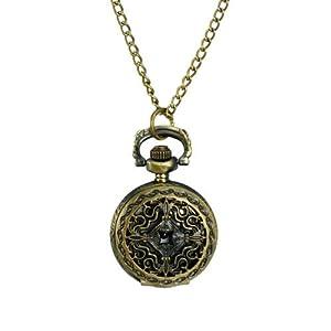 Antique Hollow Flower Style Brass Quartz Pocket Watch With Chain Belt - JUST ARRIVE!!!