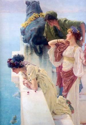 GFM Painting - Riproduzione fatta a mano di Pittura ad Olio. Soggetto:A Coign Of Vantage,Pittura ad Olio di Lawrence Alma Tadema - 72 By 96 pollici