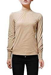 Allegra K Woman Mesh Panel Front Pullover Casual Slim Top Shirt