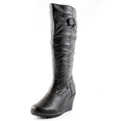 14e5c8e06f126 West Blvd Womens JAKARTA KNEE HIGH Boots Wedge Riding Equestrian Motorcycle  Biker High Heel Shoes