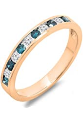 0.50 Carat (ctw) 10k Gold Round White & Blue Diamond Ladies Anniversary Wedding Stackable Band 1/2 CT
