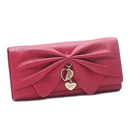 Damara Women Long Faux Leather Bifold Large Bow Design Wallet Handbag,Rose