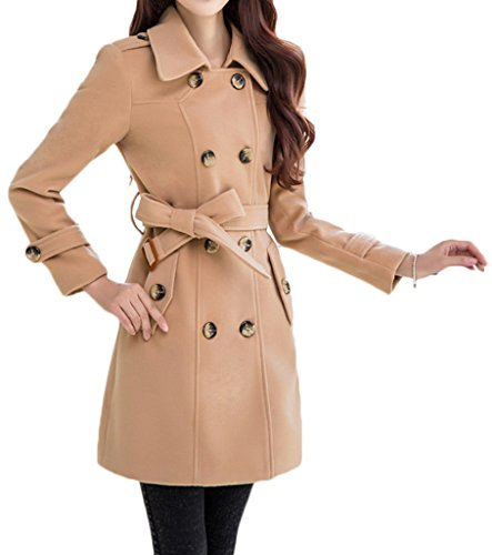 Womens Turn Down Collar Double-Breasted Long Woolen Coat with Belt