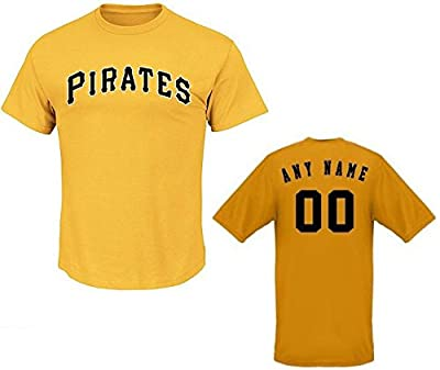 Yellow Pittsburgh Pirates CUSTOM (Any Name/# on Back) or Blank Back MLB Licensed Replica Baseball Jersey 100% Cotton Crewneck T-Shirt