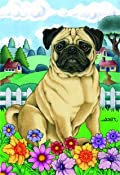 Pug - by Tomoyo Pitcher, Spring Dog Breed 12'' x 17'' Flag