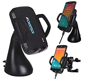 CHOE UPGRADED Qi Wireless Car Charger Dock with Wide Charging Area Wireless Charger for Galaxy Note 5,LG G4,SONY Xperia Z3V,Nexus 5, Nexus 4,LG G3, MOTO Droid Mini,HTC Droid DNA, HTC Rzound,Blackberry Z30,Pentax ,Samsung, Google, LG, HTC and Other Qi-Enabled Phones