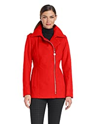 Anne Klein Women\'s asymmetrical Wool Zip Jacket, Persimmon, Medium