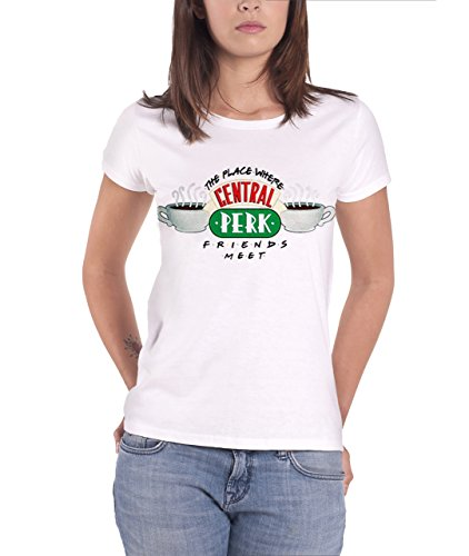 Friends T Shirt Central Perk Classic Logo Official Womens White Junior Fit (Central Perk Jacket compare prices)