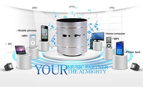 Adin Bluetooth 360°Omni-Directional Vibration Resonance Household Mini Music Speaker Silver