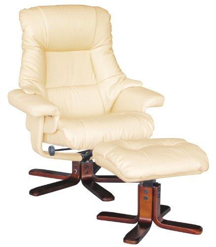Acme 59018 Jama Chair and Ottoman Set, Cream Polyurethane Finish
