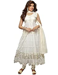 Clickedia Women's Net & Brasson White Semi - Stitched Anarkali - Dress Material