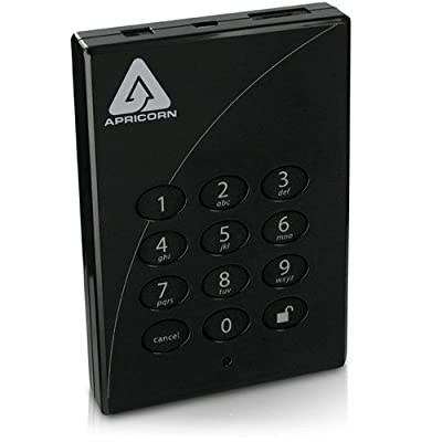 Apricorn Aegis Padlock Pro 500 GB USB 2.0 and eSATA 256-bit Encrypted Portable External Hard Drive A25-PLe256-500 (Black)