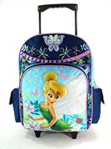Back to School Saving - Walt Disney Tinkerbell Large Rolling Backpack and Tinkerbell Water Bottle Set, Backpack Size Approximately 16""