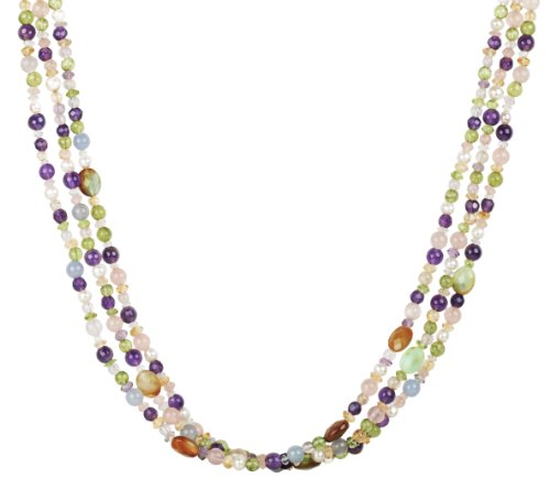 Triple Strand Multi-Gemstone Necklace with 14K Gold Clasp