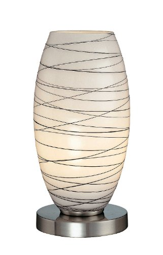 Lite Source LS-20855 Giacomo Table Lamp, Polished Steel with Glass Shade