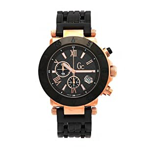 GUESS Men's 47000G1 GC Rose Gold Plated Black Dial Watch